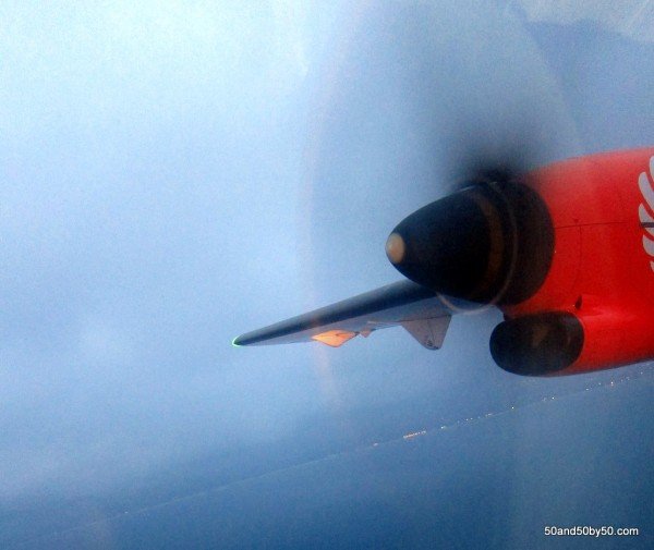 Closeup photo of the propeller of the Wing's Air prop plane
