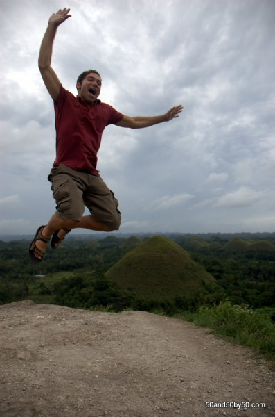 Jumping over Bohol's Chocolate Hills in the Philippines -3