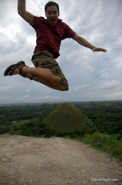Jumping over Bohol's Chocolate Hills in the Philippines -5