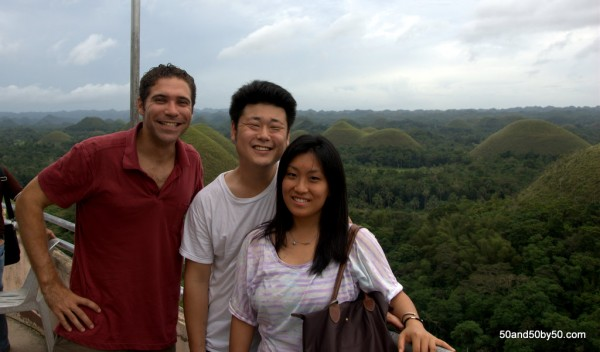 Bohol Chocolate Hills in Bohol, Philippines - me, Victor, Grace