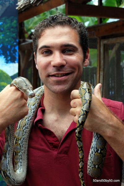 Portrait with a python in Bohol, Philippines