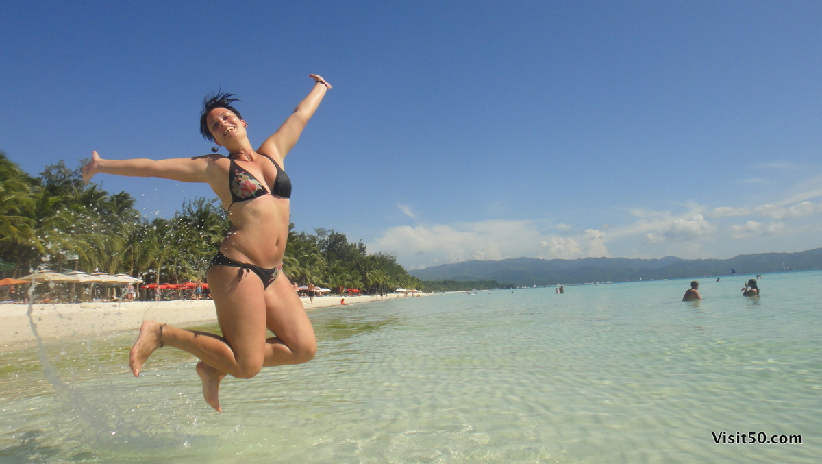 Sarah jumping in beautiful Boracay, Philippines