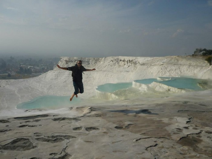 Jumping photo of Noe in Pammukale, hot spring terraces