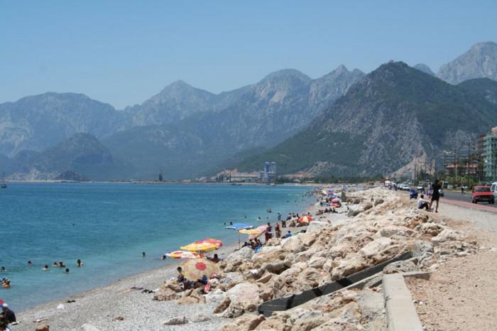 Antalya Beach, with impressive mountains, in Antalya, Turkey