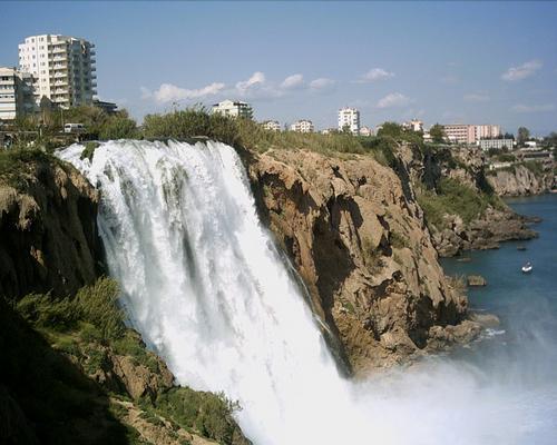 Impressive Duden waterfall in Antalya, Turkey