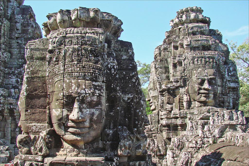 Bayon temples at Angkor Thom, Siem Reap, Cambodia, near Angkor Wat