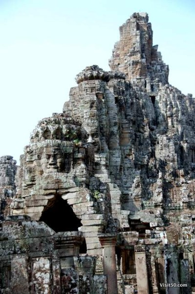 faces of the Bayon temples, in the Bayon ruins in Angkor Wat Angkor Thom area in Cambodia
