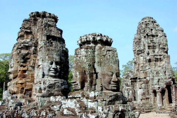 There are 216 gigantic faces on the Bayon temple towers, in the Angkor Thom area of Siem Reap, Cambodia near Angkor Wat