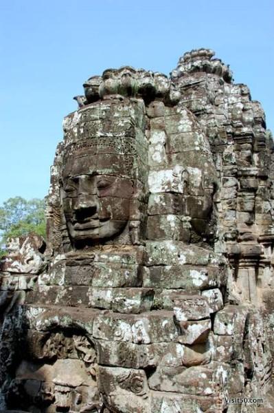 Smiling face of Avalokiteshvara at the Bayon temples at Angkor Thom, Cambodia
